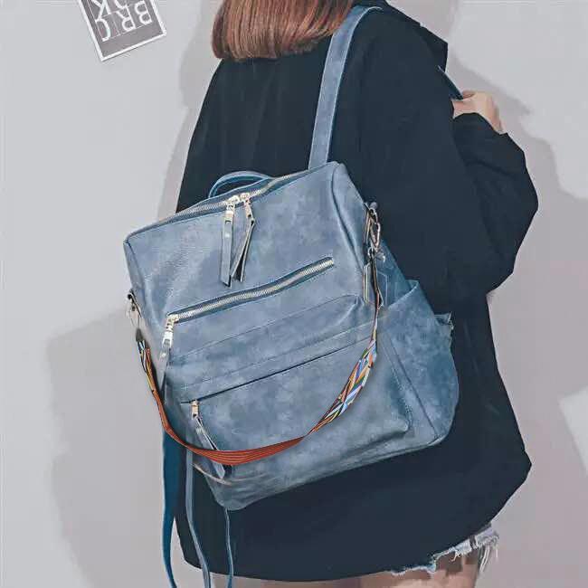 Women Backpack Purse PU Washed Leather Back Pack Convertible Ladies Travel Rucksack Zipper Pocket Shoulder Bag School Bookbag DOM1404