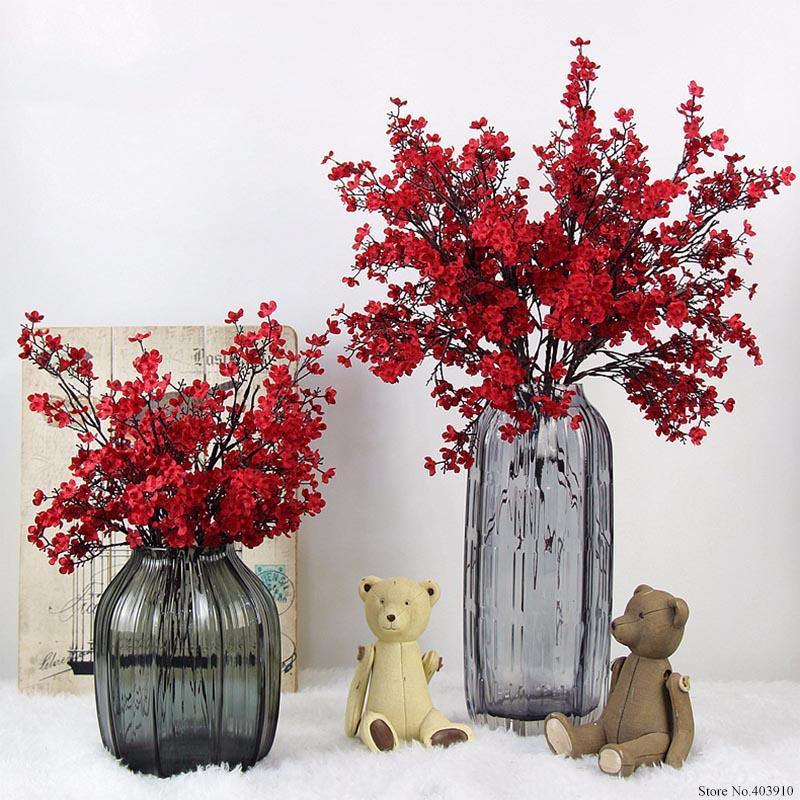 Fleurs de soie Fleurs de cerisier de fleurs artificielles Faux Branches Sakura Arbre Japon Décoration Plum Flores Table Home Décor de mariage