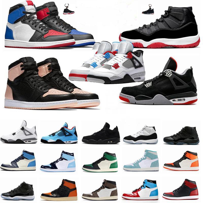 Mens 1 1s Travis Scotts Fearless Bred 11 11s Concord 45 Space Jam pallacanestro degli uomini scarpe di cemento Bianco 4 4s Che La scarpa Donne Sport