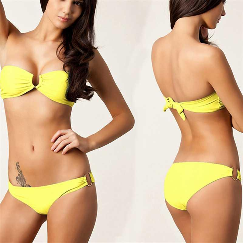 2020 Verão New cintura baixa Sexy Bikini Set Female Swimsuit Swimwear Empurre Sólidos Up Natação Terno desgaste da praia Biquini