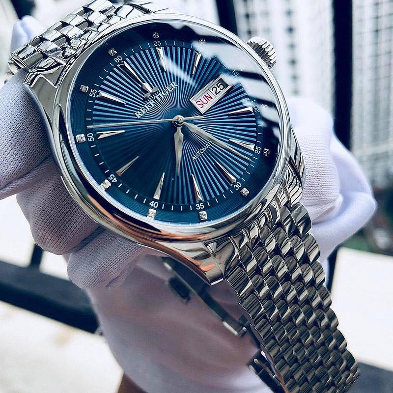 2020 Reef Tiger / RT Luxe Montre habillée pour hommes Bracelet en acier inoxydable Cadran Bleu Automatique Montres RGA8232
