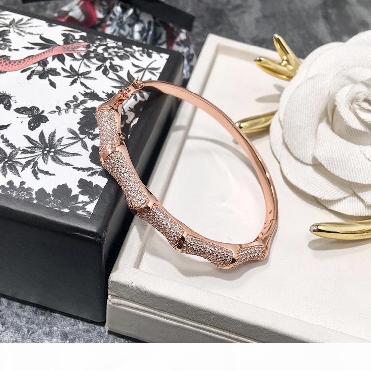 الأزياء النسائية والمجوهرات سوار أوروبا وأمريكا نصف دائرة الخيزران سوار الماس الكامل أساور مصمم المجوهرات الفاخرة