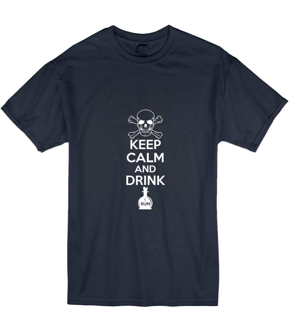 2019 mantenha calmo e beba Dia Comics Rum T pirata shirt impressionante Homens Camiseta T-shirt impressionante presente Womens Mens For Men em torno do pescoço