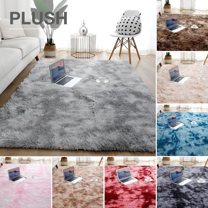 Grau Teppich für Wohnzimmer Plüsch Teppich-Bett-Zimmer Boden Fluffy Matten Anti-Rutsch-Home Decor Teppiche Soft Velvet Teppiche Kinder Blanket