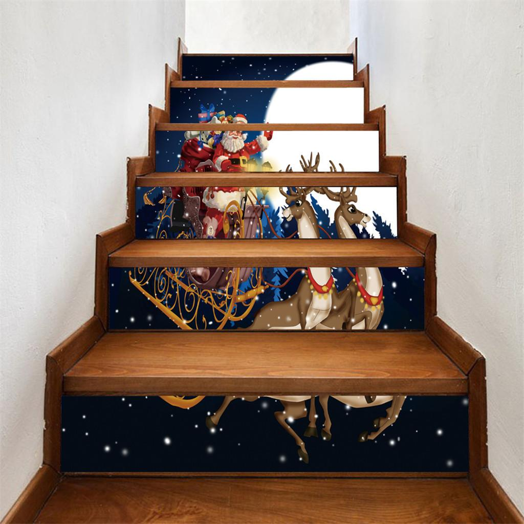 parede KAKUDER adesivo 6pcs dos desenhos animados 3D Papai Noel Elk partido Stair adesivo boneco festival Home Decor Adesivo de Parede navio da gota