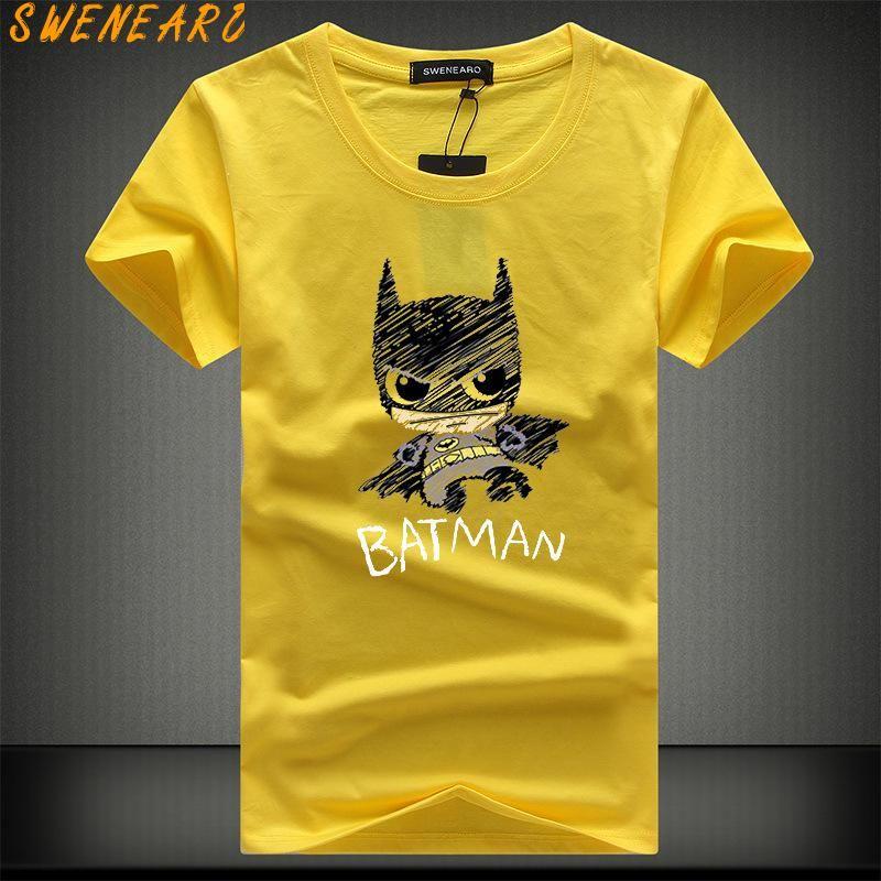 abbigliamento di marca i più nuovi 2018 manica corta moda maschile Fumetto poco Batman T-shirt stampate maglietta divertenti degli uomini O-collo cime popolari