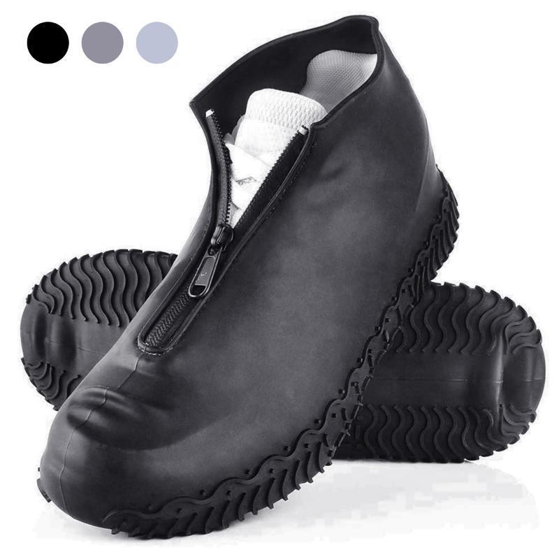 Nuovo 1 paio coperture impermeabili scarpe riutilizzabile pieghevole Non-Slip Silicone pioggia copriscarpe Con Zipper all'aperto Protezioni