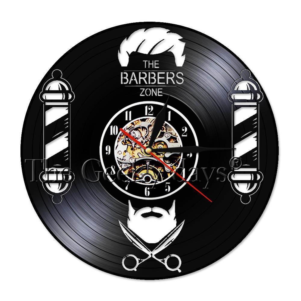 1 Pezzo Barber Shop parete Vinyl Record orologio silenzioso Capelli Movimento salone di bellezza Parrucchiere Parrucchiere Camera della parete di arte dell'orologio