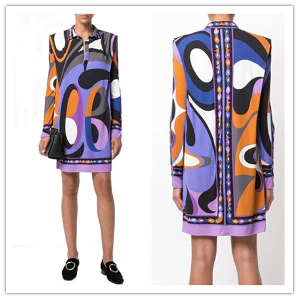 Длинные рукава фиолетовый Геометрия Printed Stretch Джерси Шелковый день одеваются Новый 2020 Мода дизайнерская марка XL XXL женской одежды