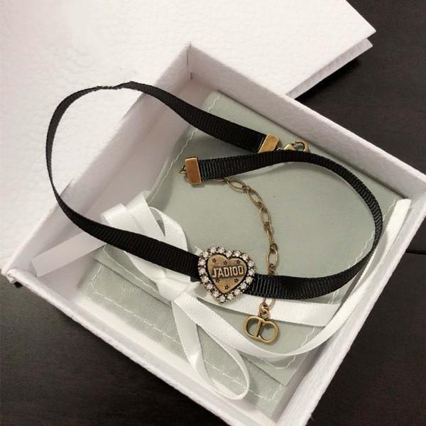 Yeni siyah halat sevgi elmas tasarımcı takı lüks kadın vahşi moda tasarımcısı kolye