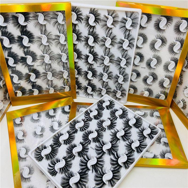 20 paires / boîte de 25 mm Faux 3D Vison Cils naturel à long faux cils Wispies Bushy Fluffy Styles mixtes Faux Mink Lashes Maquillage des yeux