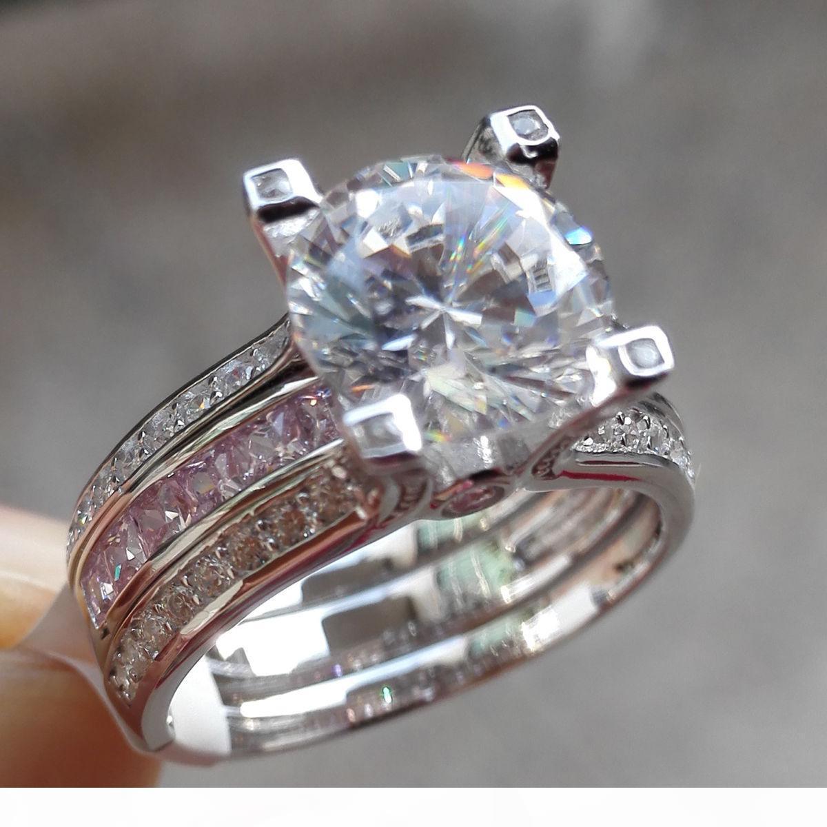 Gioielli Victoria Wieck Choucong Moda 10KT oro bianco riempito Roud taglio zaffiro rosa CZ pietra preziosa del diamante aggancio di cerimonia nuziale regalo Anello Donne