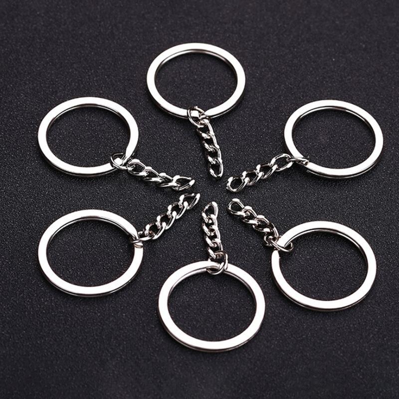 مصقول الفضة اللون 30 ملليمتر كيرينغ المفاتيح انقسام الدائري مع سلسلة قصيرة خواتم مفتاح النساء الرجال diy سلاسل المفاتيح الملحقات 10PCS PS0477