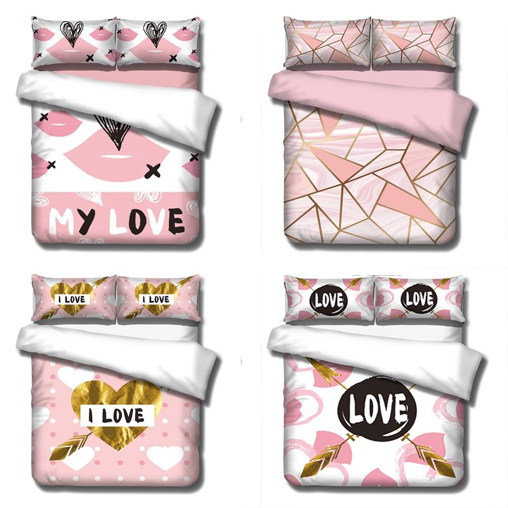 3D Love Design Digital Printing Bedding Set Duvet Cover Pillowcase Bedclothes Dropshipping Boy Gife Flowers