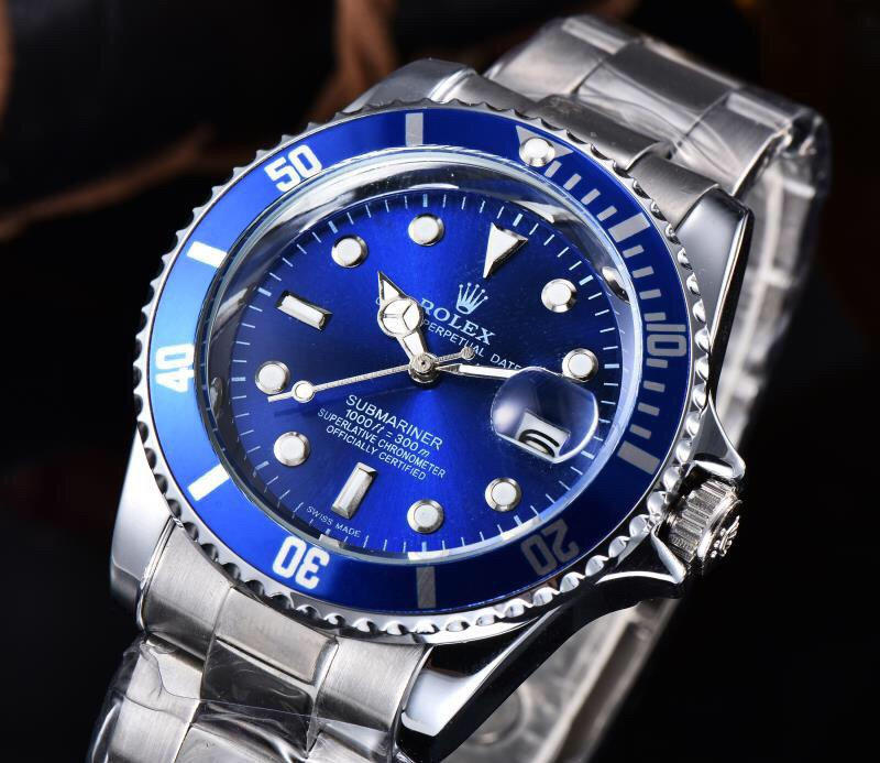 Fashion Business Men's Watch High Quality Stainless Steel Strap Automatic Date Waterproof Luminous Blue Dial Mechanical Watch