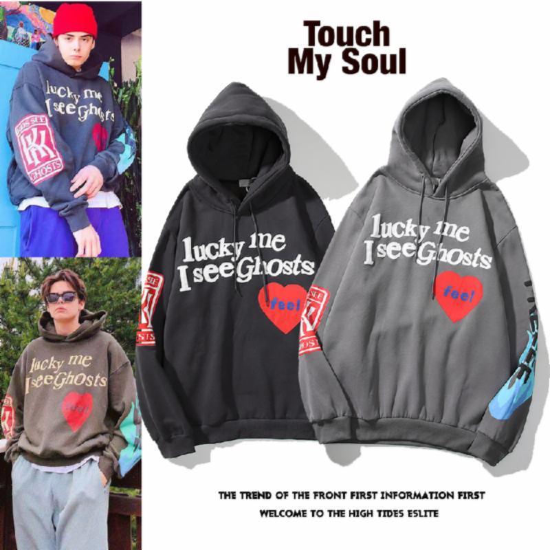 2020 High Street West Ride Kids Смотреть призраки Канье красное сердце Граффити напечатанный хлопчатобумажный свитер с капюшоном M-XXL