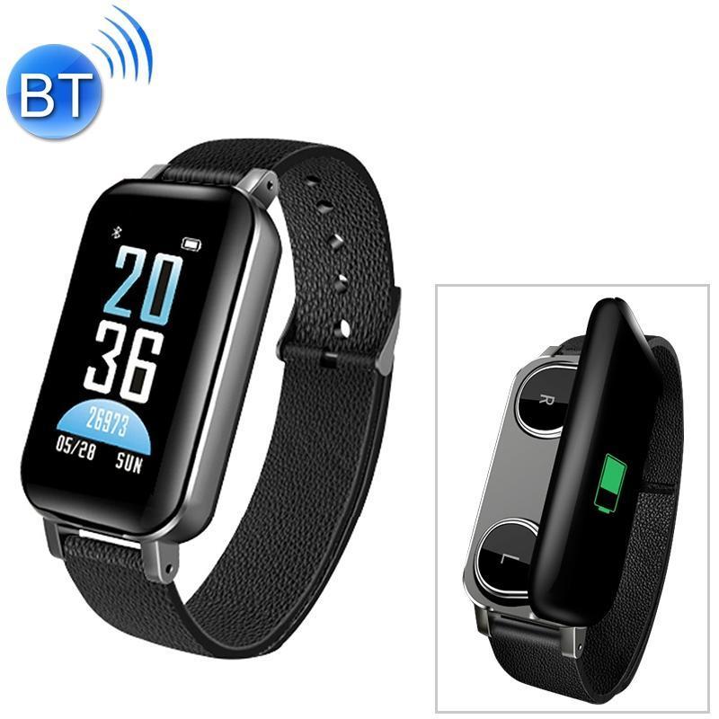 T89 2 en 1 écran couleur Bluetooth 5.0 sans fil Bluetooth double écouteur Bracelet magnétique intelligent avec boîte de charge, support de fréquence cardiaque Sang P