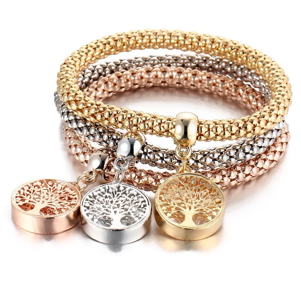 Free DHL Fahion Girl Silver Color+gold Color+rose Tree Shape Decorated Bracelet 3pcs Accessories Girl Jewelry One Set Alloy Quality Bracelet