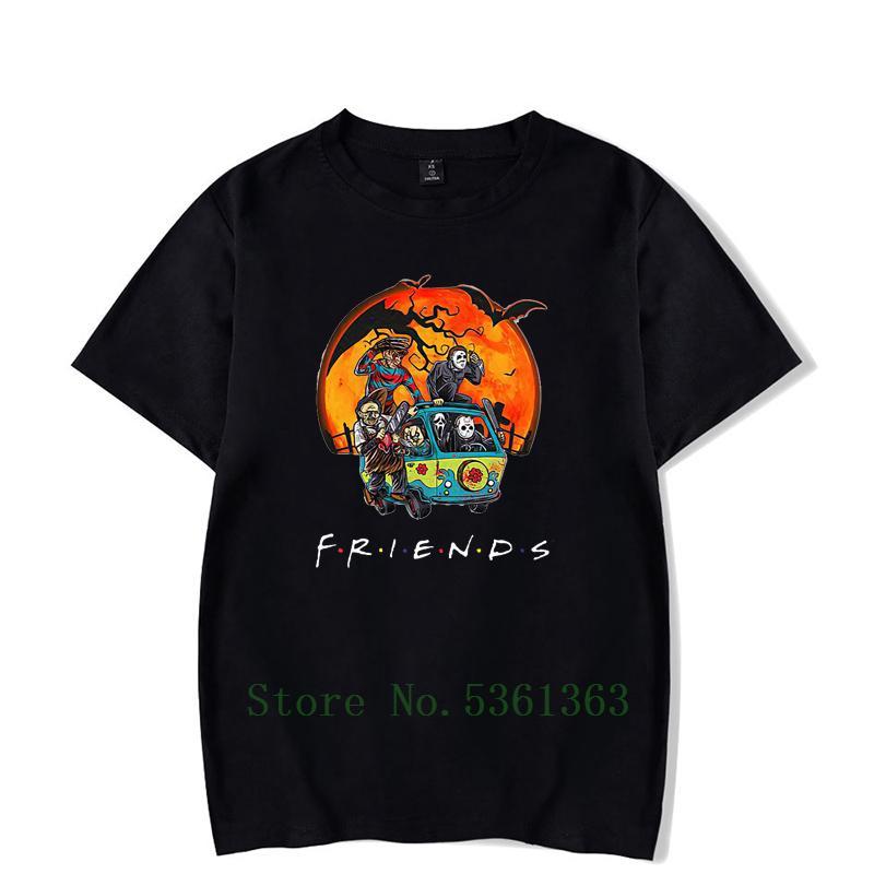 Horror Charakter Freunde Halloween T-Shirt Freund Halloween Horror-Charakter Shirt Frauen 2019 Schwarz Tops Plus Size Druck T