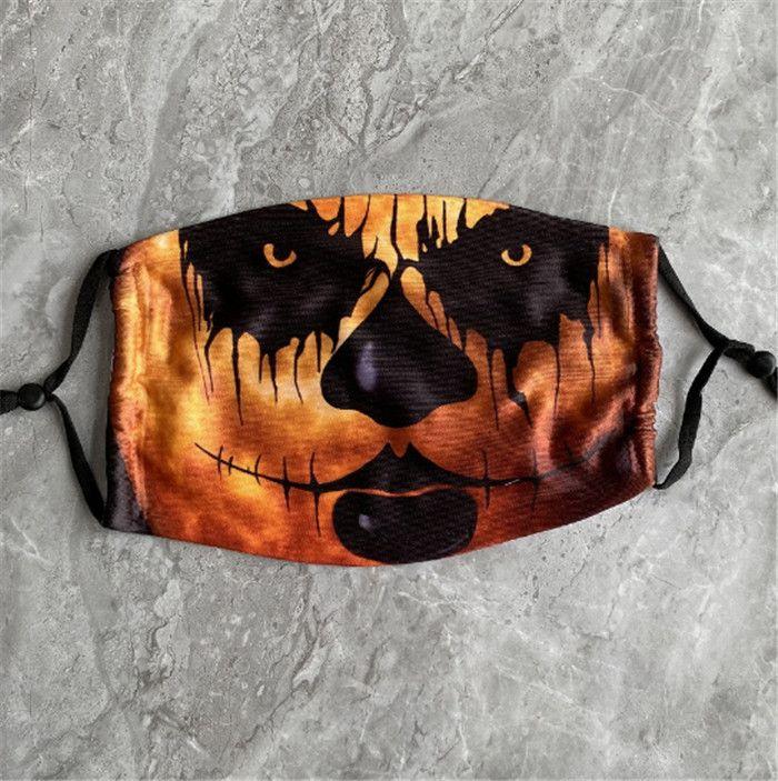 Kabak Grimace Pamuk Yüz Yeniden kullanılabilir Koruyucu PM2.5 Carbon Maske Boyama Kid Maske Cadılar Bayramı Korkunç 3D Yıkanabilir Kid Yüz Maskesi Filtreler