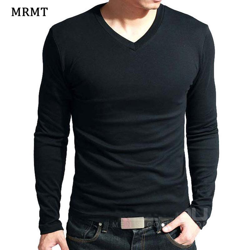 2020 Elastic Mens T-Shirt V-Neck Long Sleeve Men T Shirt For Male Lycra And Cotton T-Shirts Man Clothing Brand Tees