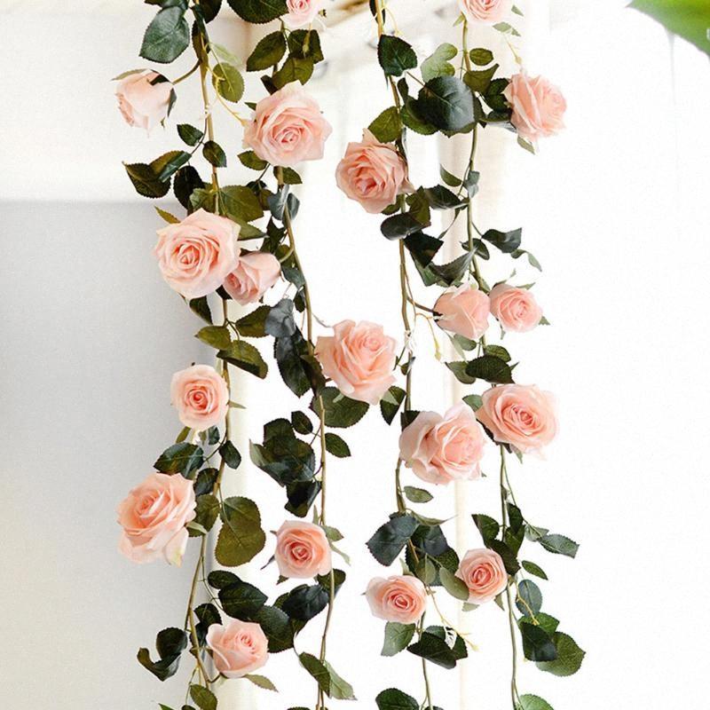1,8 m 3 Colores artificial Flores Australia vid de Rose Rattan flores de seda falsa para la boda del partido decoración del hogar de la decoración del jardín 9pFX #