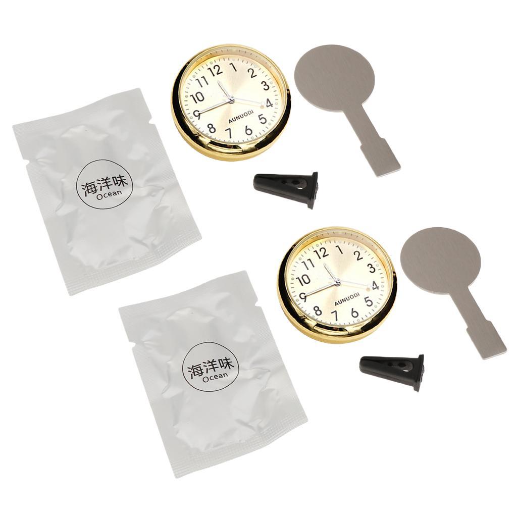 2 Conjunto de coches Mini reloj digital automático del reloj Automotive decoración del reloj de oro en el coche