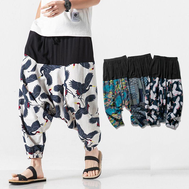 Cotton and Linen Patchwork Printed Harem Pants Men 2020 Autumn Loose Large Size Retro Casual Trousers Hip-hop Mens Joggers Pants