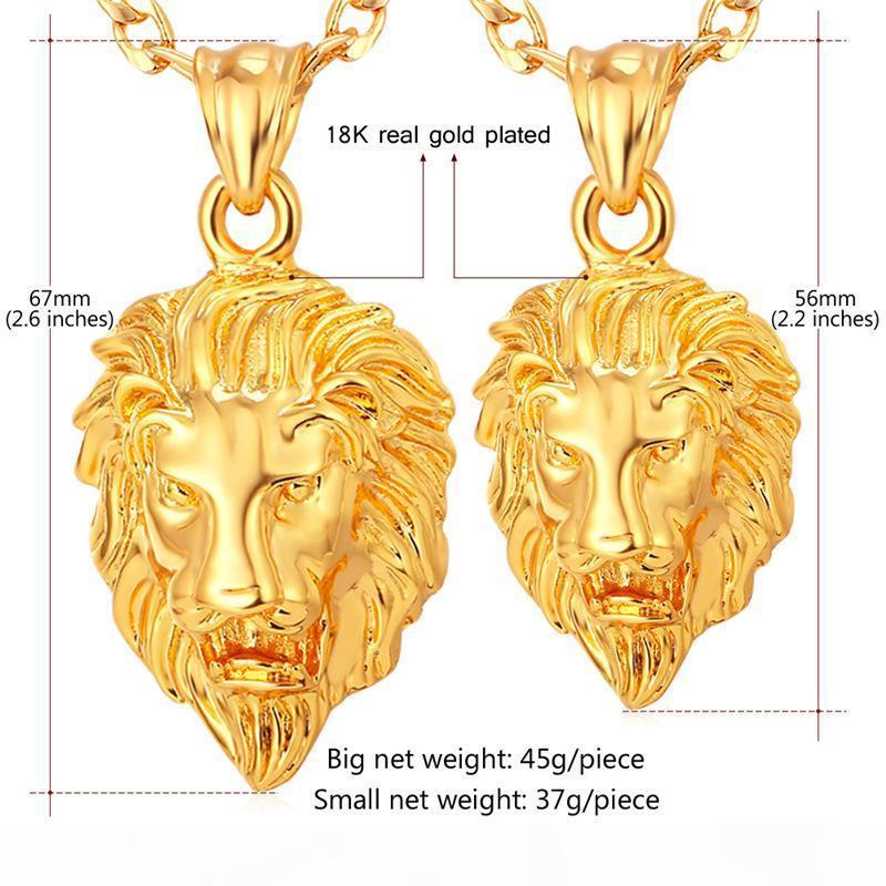 La nuova annata grande classica della testa del leone Ciondoli oro reale 18K Collana girocollo placcato incanta i galleggianti monili all'ingrosso