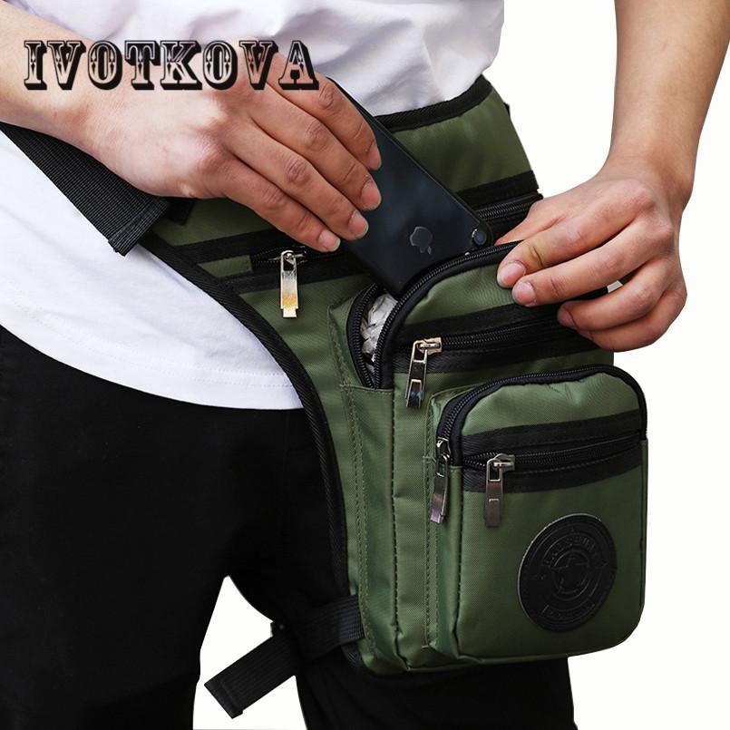 IVOTKOVA أزياء الرجال الخصر الساق إسقاط حقيبة أكسفورد العسكرية فاني حزمة متسابق الدراجات النارية والسفر عالية الجودة مقاوم للماء الساق حقائب الجديدة CX200713