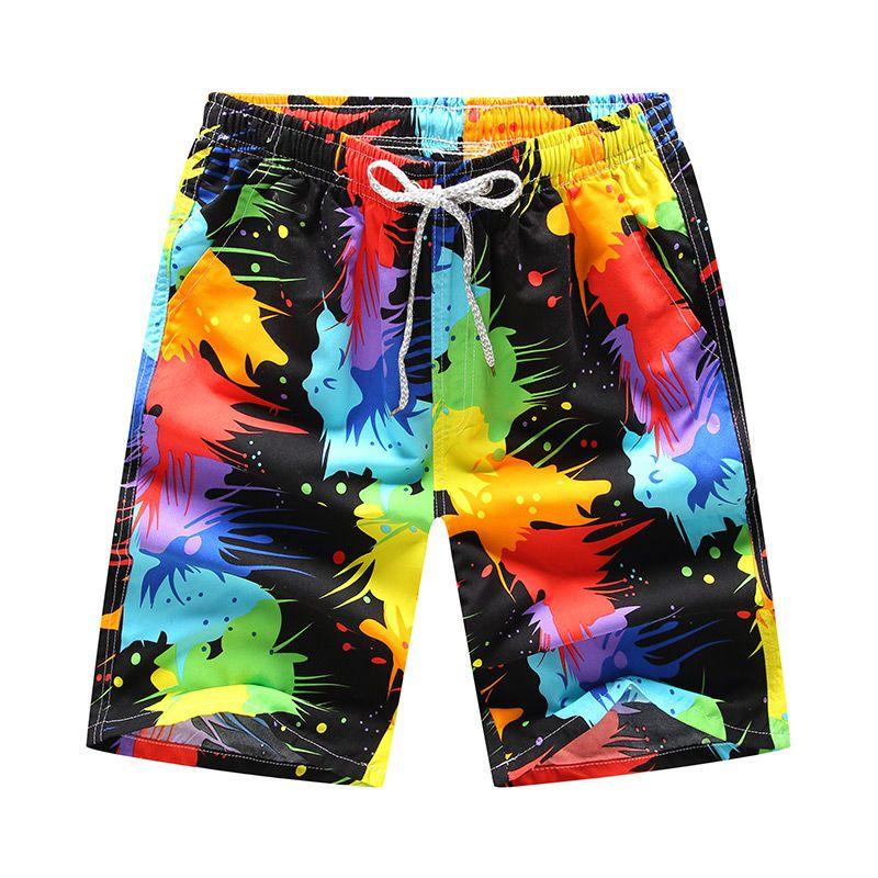 Hommes 16 courts style Shorts Hommes d'été Hawaii Imprimer Quick Dry pantacourt causales Shorts Homme Sportwear Drawstring Plus Size
