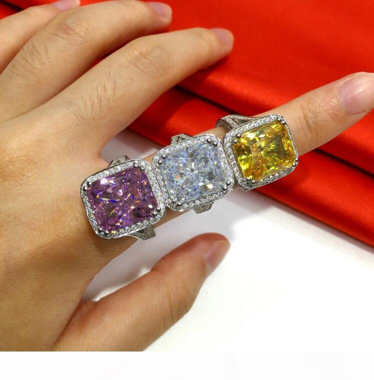 A Superbe 2017 Top Vente luxe Bijoux Princesse Cut 14kt or blanc rempli de 10ct Topaz Pierres précieuses diamant Cz Ventage bande R
