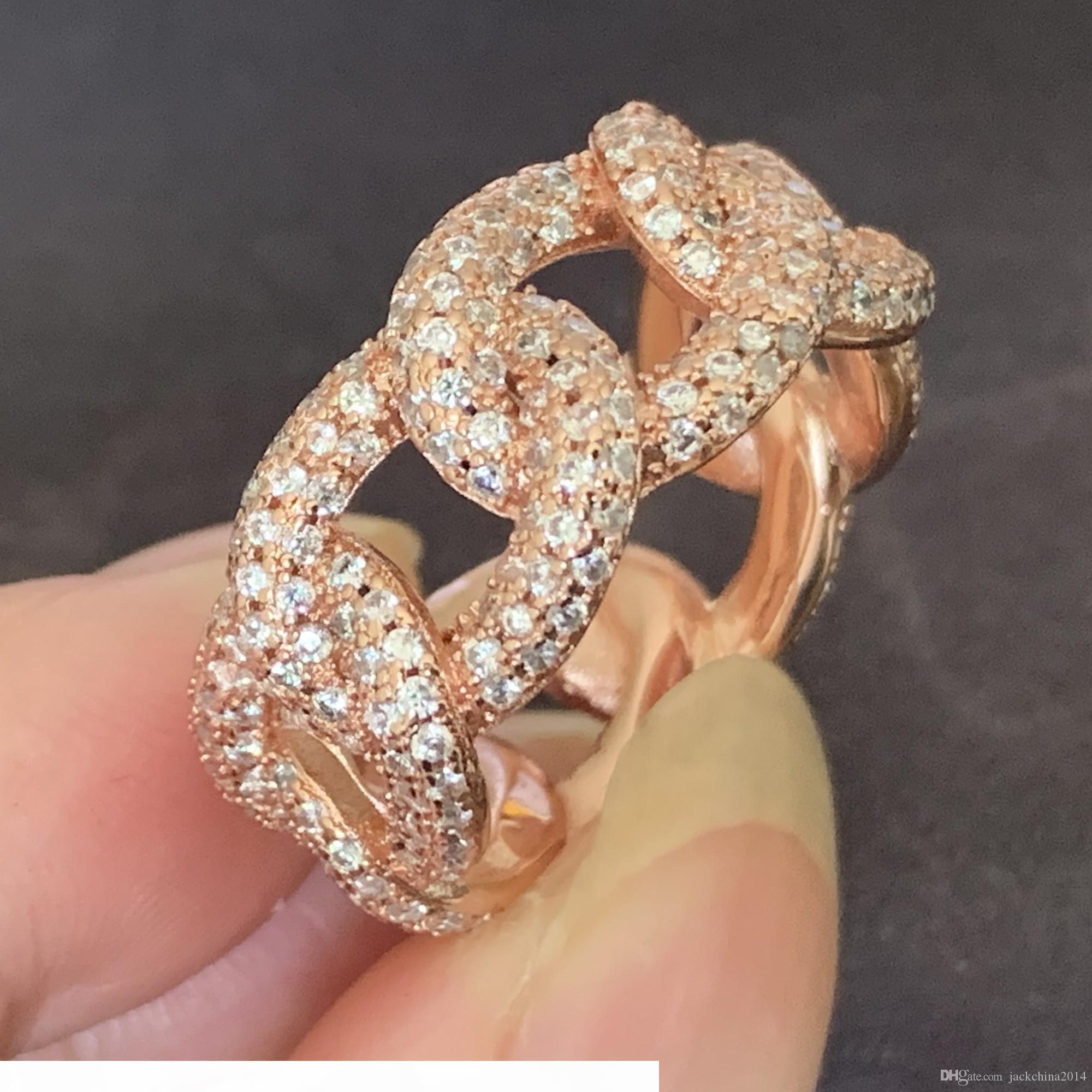 فيكتوريا Wieck خمر الأزياء والمجوهرات 925 SilverRose الذهب التعبئة مهد الأبيض الياقوت CZ الماس المرأة زفاف باند الطوق هدية