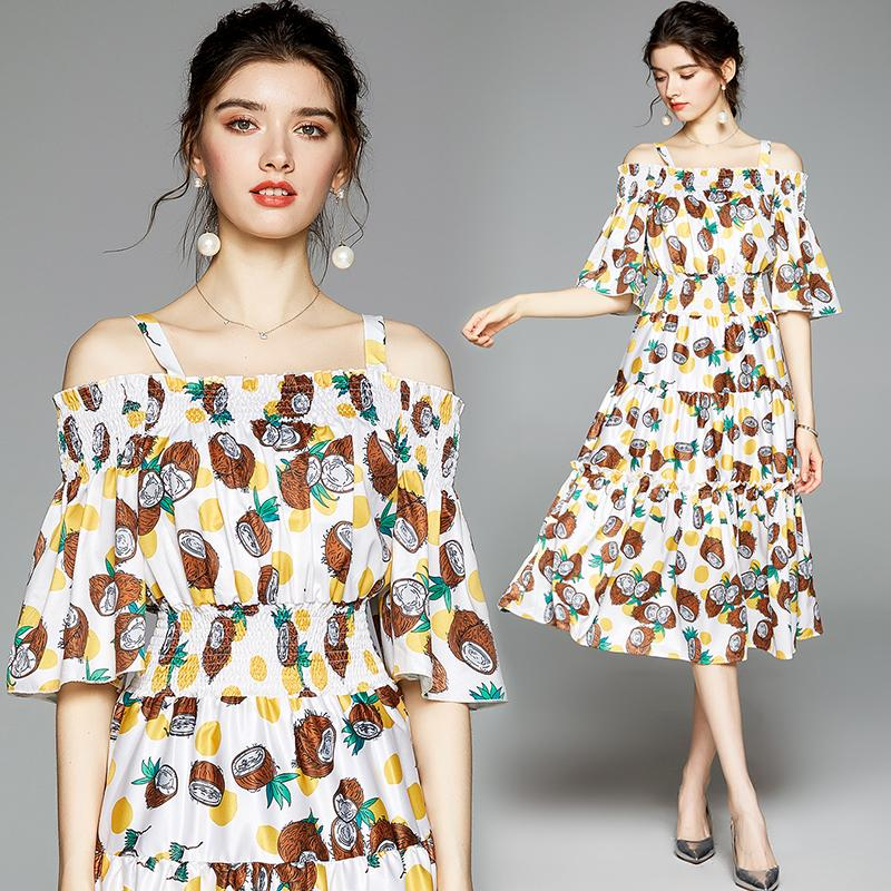 Strapless Temperament Printing Dress for Women Summer Sling Dress Fashion Casual Lady Dress Party Holiday Dresses