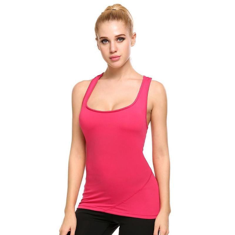 Mujeres Delgado Yoga chaleco sin mangas de camiseta sin mangas Fitness Deportivo Ropa de deporte Mujer de verano entrenamiento blusas sin espalda Criss Cross camisas de la yoga