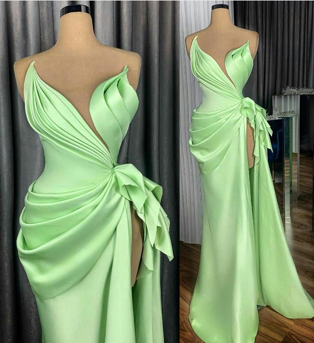Mint Sheath Prom Dresses Sheer Jewel Neckline robe de soiree Ruffles High Side Split Evening Dress Custom Made Formal Party Gowns