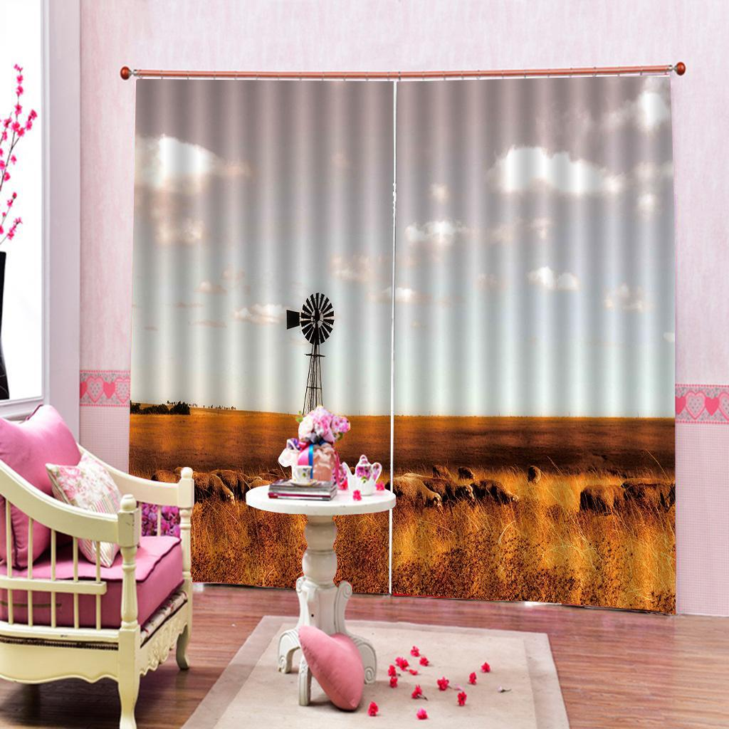 2020 Farmhouse Mountain Landscape With Sheep Grassland Image Curtain For Living Room Bedroom Blackout Window Drapes Home Decor Sets From Highqualit02 173 12 Dhgate Com