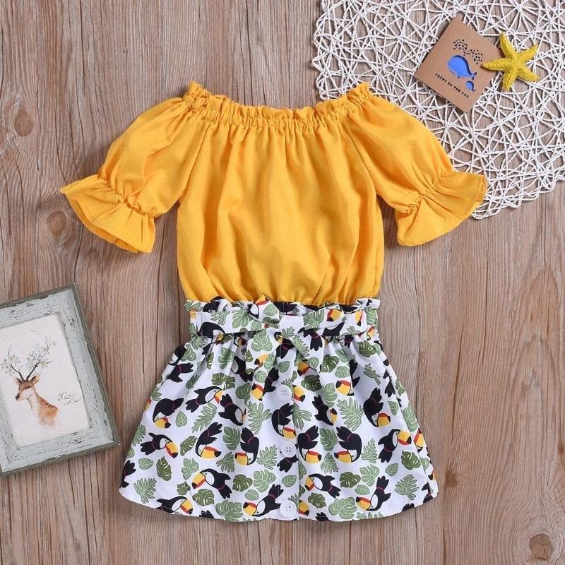 Baby-Kleidung Anzug 2020 brandneue Sommer-Kleinkind-Mädchen-Kleidung Gelbe T-Shirt Tops + Shorts Pants 2Stk Set tQ44 #