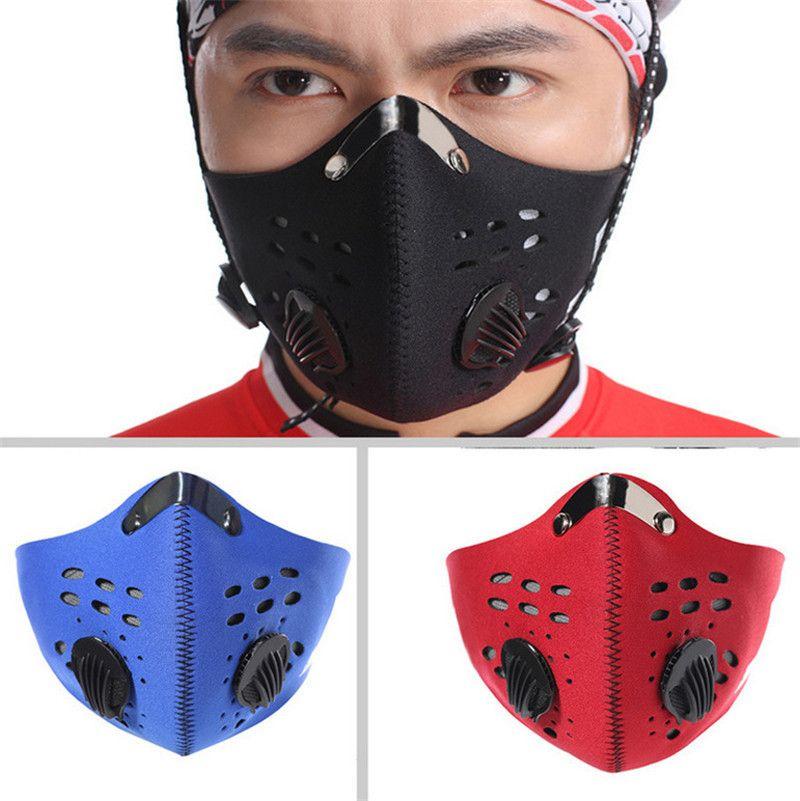 valve avec des masques respiratoires masque visage activé de carbone La poussière et le vent chaud Anti-Keep rayures anti-statique masque à vélo Livraison gratuite par DHL