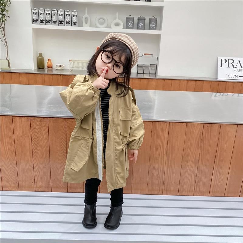 Ins Le nuove bambine Tench Coat Cotton Winter Elegante Fashions Outwear Autunno Tasche anteriori Autunno Bambini Ragazzi Gilrs Cappotto per 1-6T