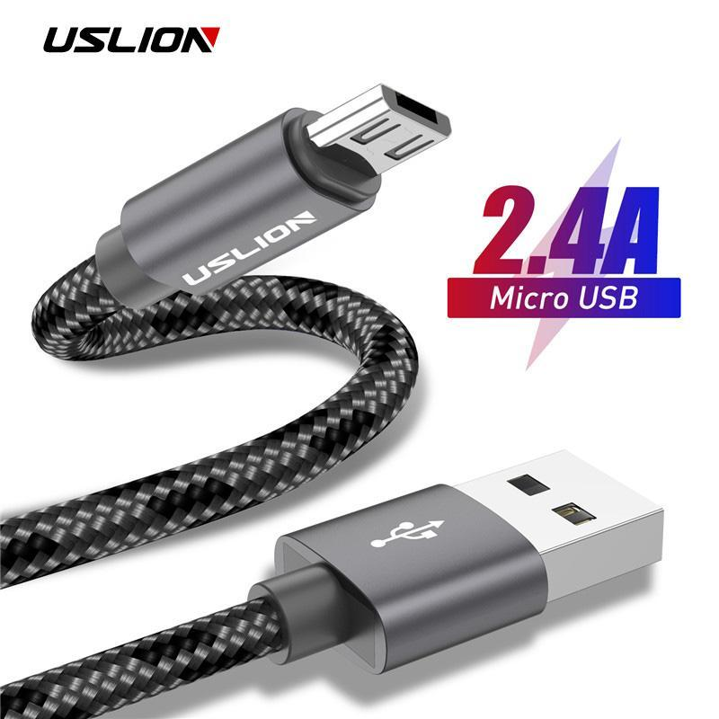 5M Weaving Charging Cord for Android Phone Tablet Golden 2 in 1 Micro USB Type C USB Cable 1