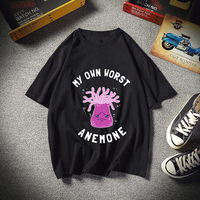 My Own Worst Anemone T-shirt d'été Homme Vêtements pour hommes Tee à manches courtes en coton Marque Homme
