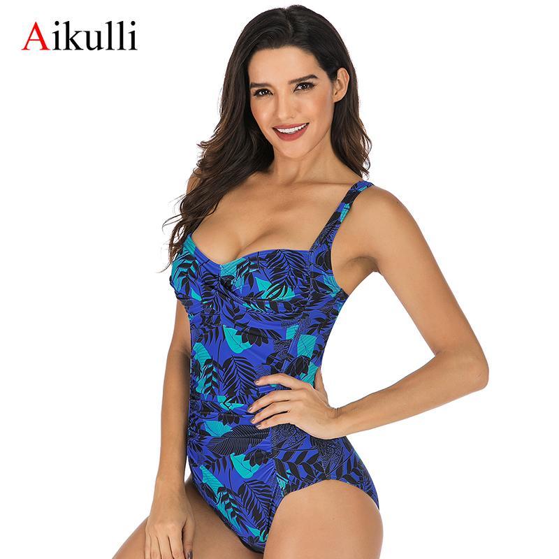 Aikulli 2020 Blumendruck einteiliger Badeanzug-Frauen Monokini Strandbade Bademode Vintage-Bauch-Steuer Plus Size Push Up Suits T200708