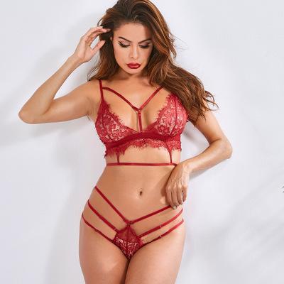 Sexy Strapse Nachtwäsche Frauen Erotische Dessous Sets 2020 New Cross Lace Stitching-Unterwäsche-Frauen Sexy See -Durch Unterwäsche Spitze-Art