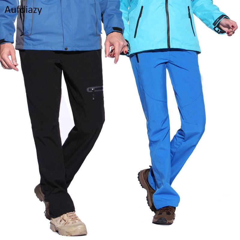 Aufdiazy colorido Homens Mulheres Winter Outdoor Sports Velo calças quentes Softshell impermeáveis trekking Calças de escalada Ski Pant OM038