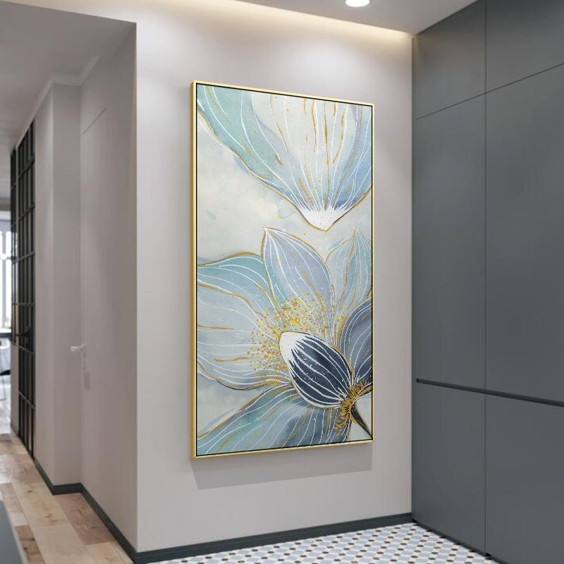 Blue Lotus Flower Oil Painting Nordic Wall Art Canvas Poster Prints Scandinavian Home Decor Minimalist Wall Pictures for Living Room