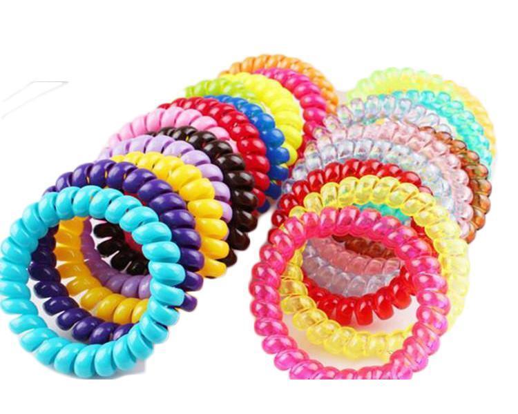 5.5CM Doces coloridos Telefone linha de goma elástica laços desgaste bandas de cabelo anel de cabelo Elastic / laços / Cabelo desgaste do anel / cabelo / cabelo