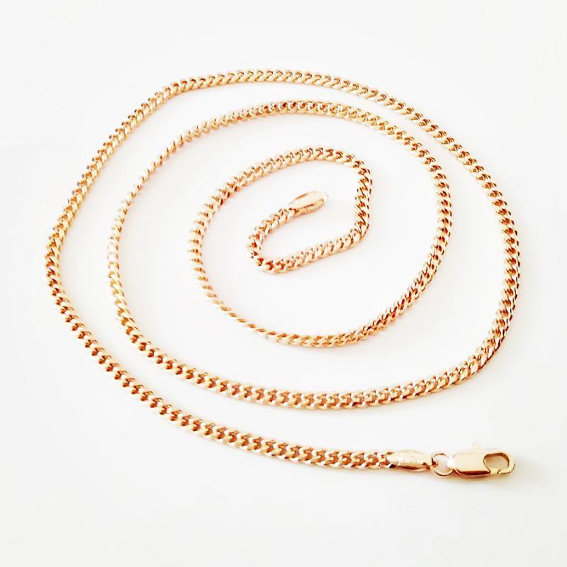 Цепи Девочка Ожерелье 585 Розовые Золотые Женщины Ювелирные Изделия 60 см Длинные Тонкие Продают в неделю