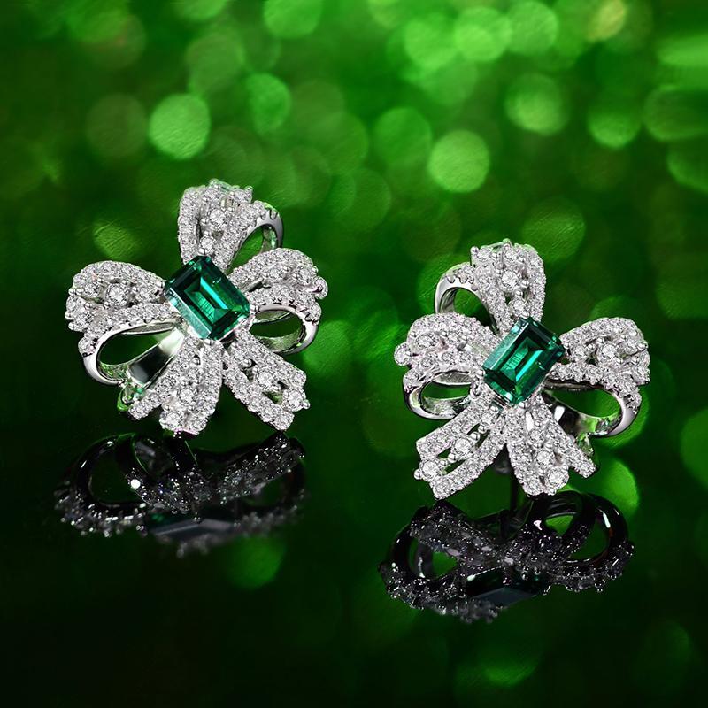 Женский Дизайнерский Ювелирный дизайнер серьга Sterling Щепка серьги Bowknot зеленый Создано Sapphire серьга стержень для женщин ювелирных изделий
