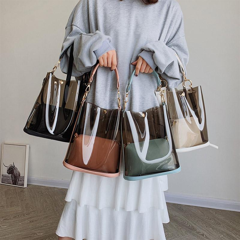 Nouveau Femmes Seau Transparent Sac Mode Sacs à bandoulière Mode Femmes Sacs Fourre-Tout pour femmes Casual Crossbody Sac